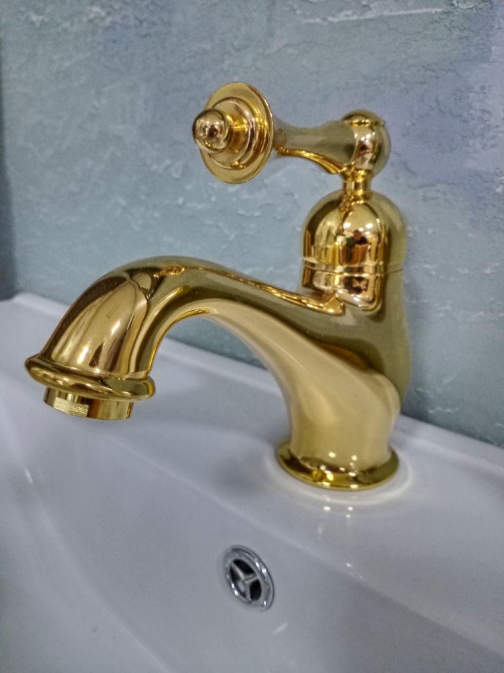 Смеситель на раковину BOMOND с донным клапаном, золото